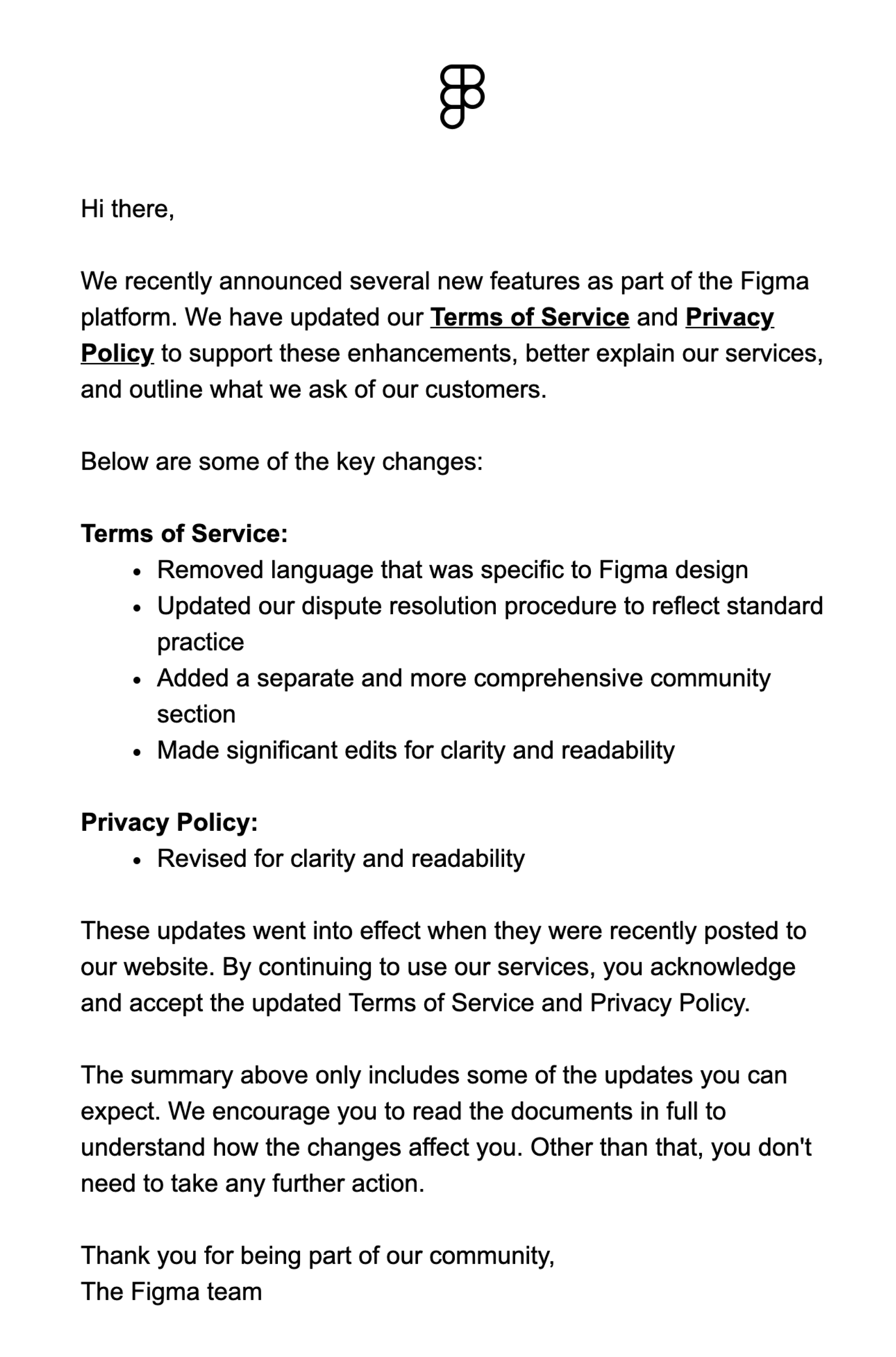 Figma Email Updated Privacy and Terms