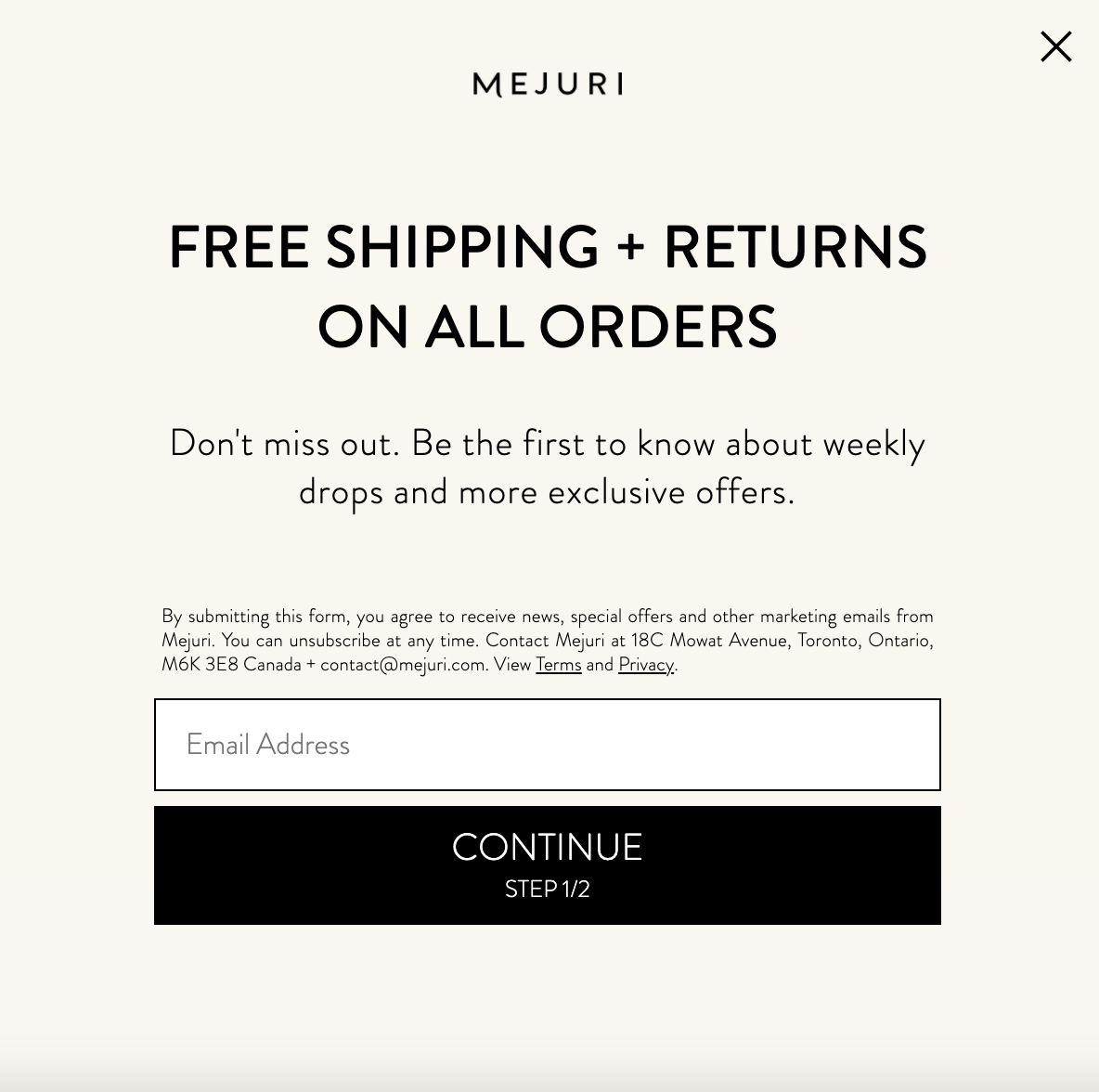 Mejuri email marketing communications opt-in example