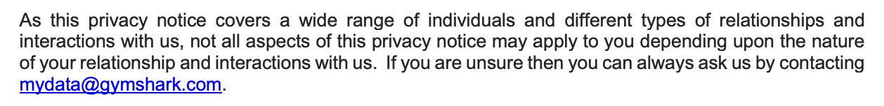 gymshark privacy policy